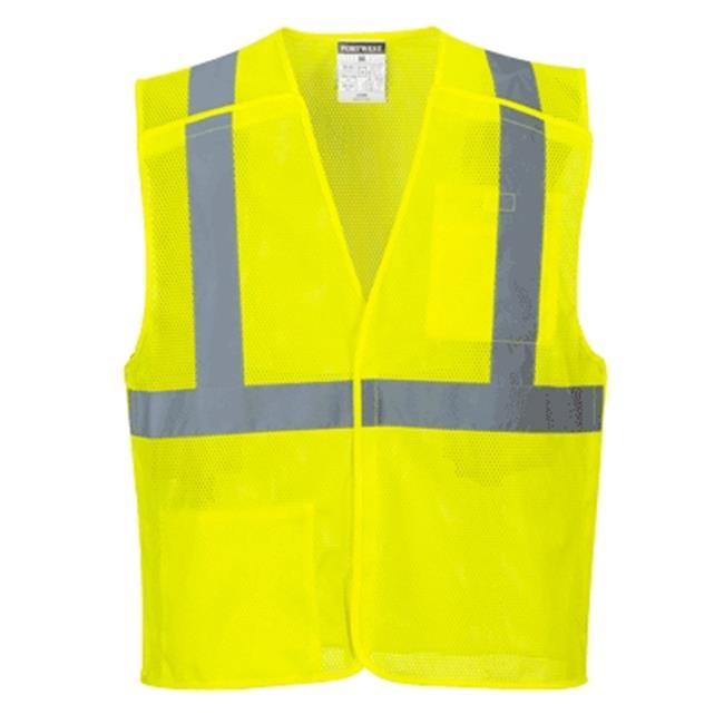US384 Extra Large Hi-Visibility Economy Break-Away Mesh Vest, Yellow - Regular