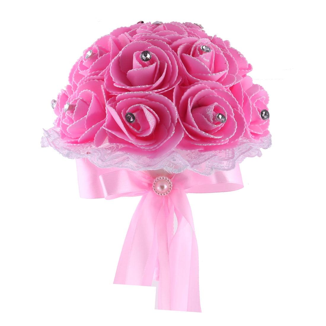 Wedding Banquet Foam Rose Buds Handhold Artificial Bouquet Craft Ornament Pink