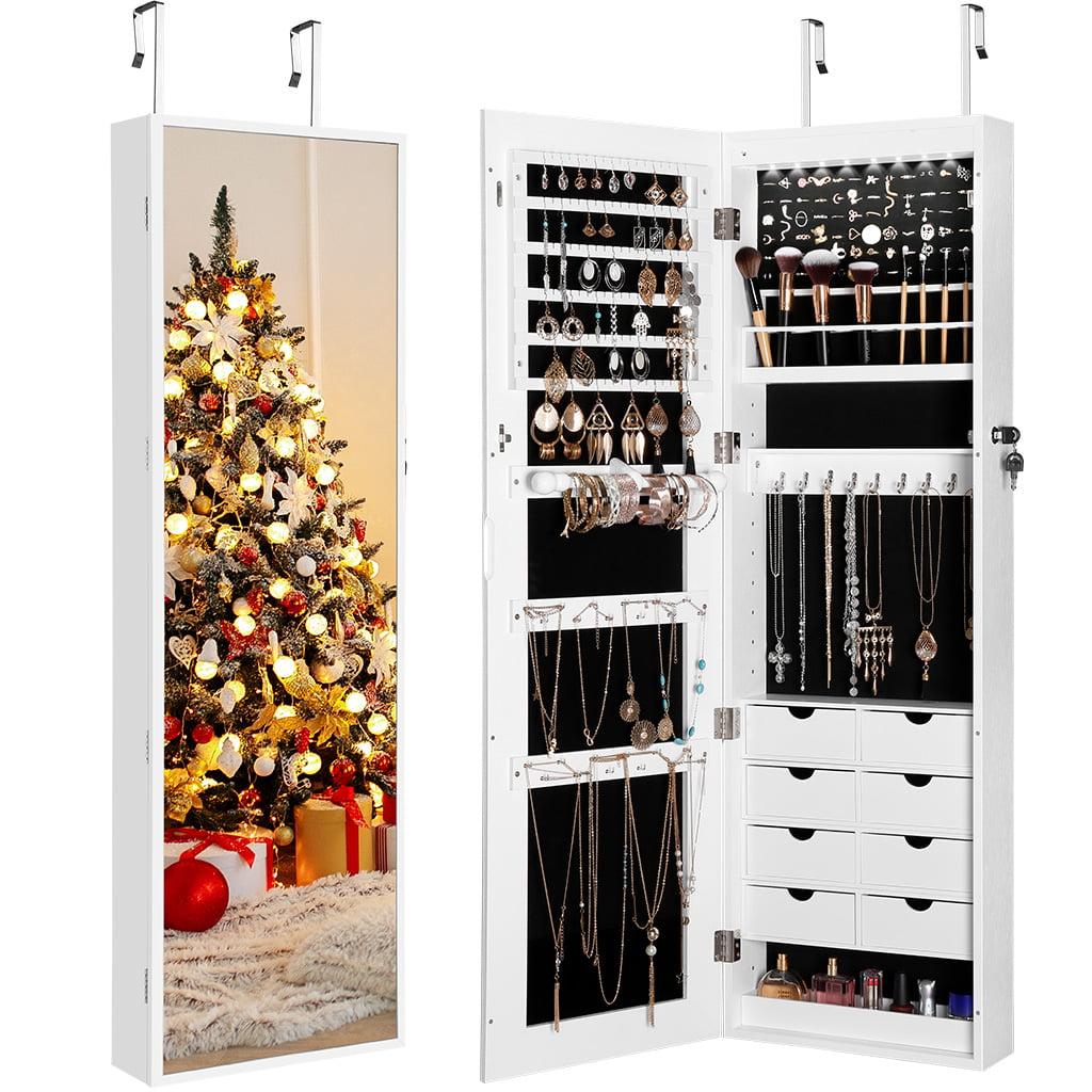 Langria Wall Door Mounted Mirrored Jewelry Cabinet Organizer Storage 8 Led Lights White Walmart Com Walmart Com