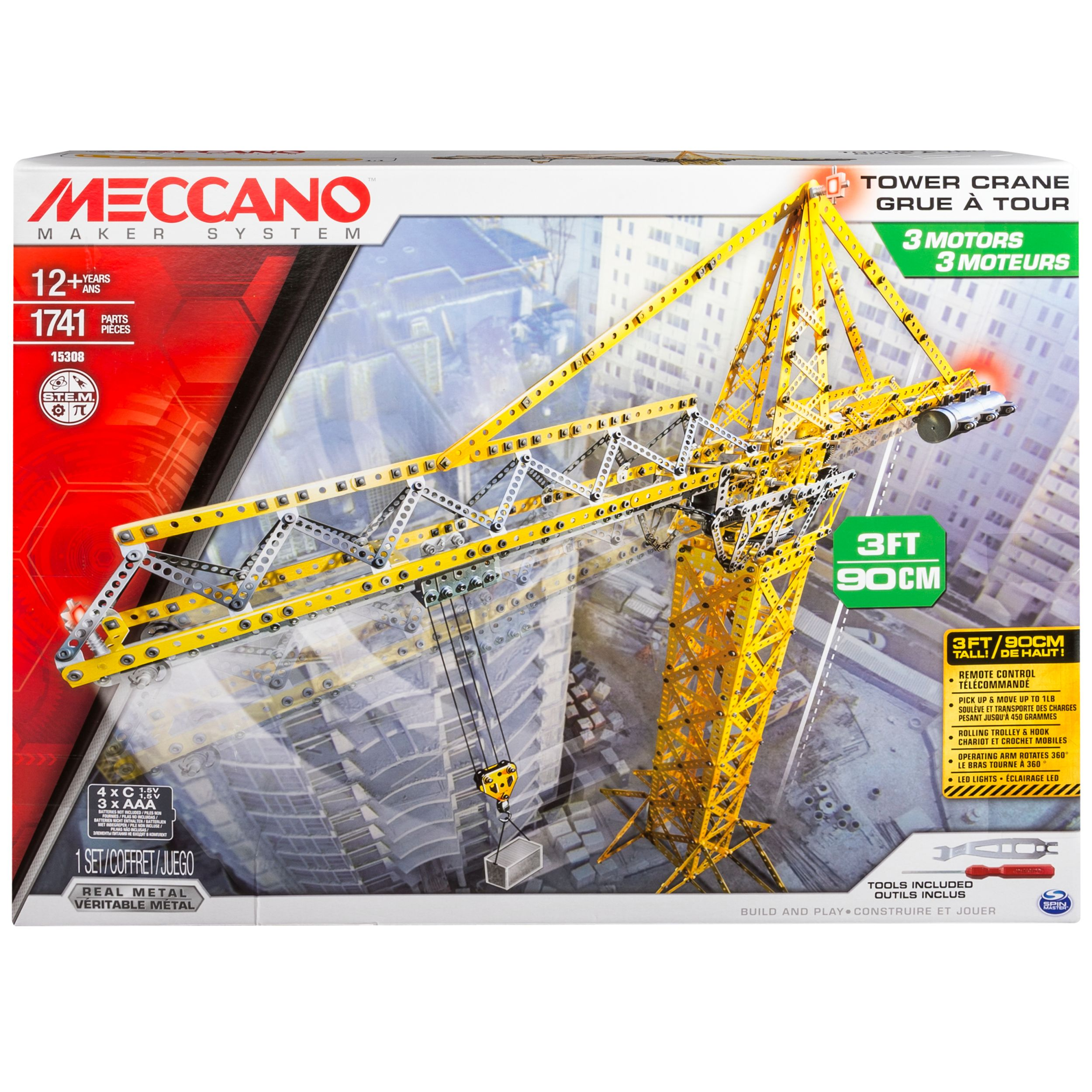 Meccano by Erector, 3 ft Tower Crane Model Building Kit