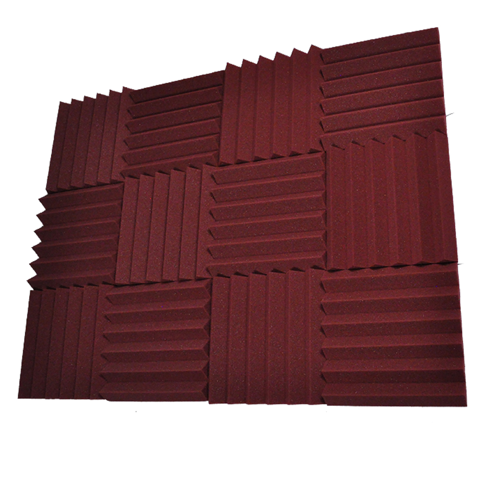 Seismic Audio 12 Pack of Burgundy 3 Inch Studio Acoustic Foam Sheets - Sound Dampening Tiles - SA-FMDM3-Burgundy-12Pack