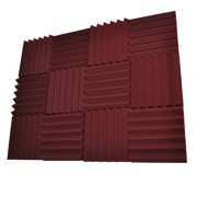 Seismic Audio 12 Pack of Burgundy 3 Inch Studio Acoustic Foam Sheets - Sound Dampening Tiles - SA-FMDM3-Burgundy-12Pack