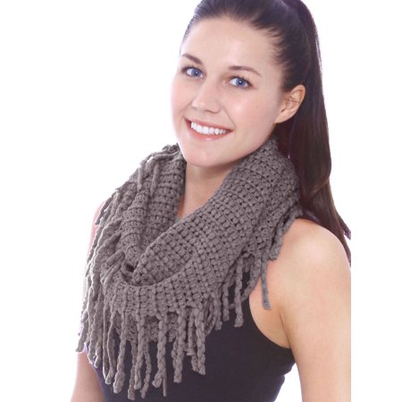 Unisex Warm Infinity Circle Scarf Cable Knit Cowl Neck Long Loop