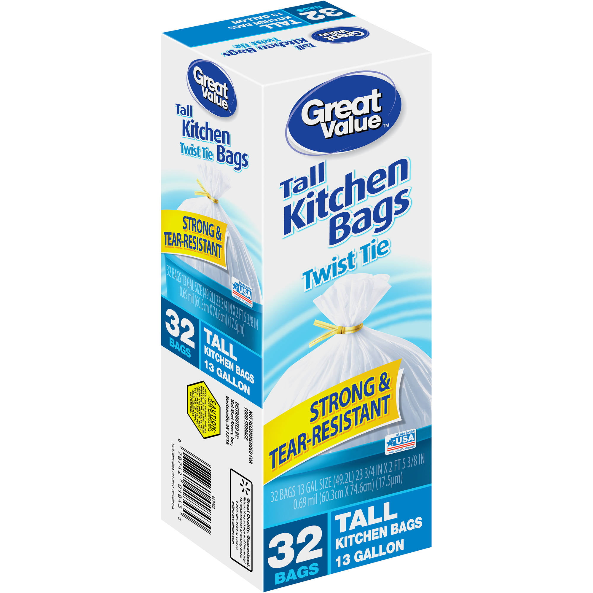 Ruffies Tall Kitchen Trash Bags, 13 Gallon, 82 Ct - Walmart.com