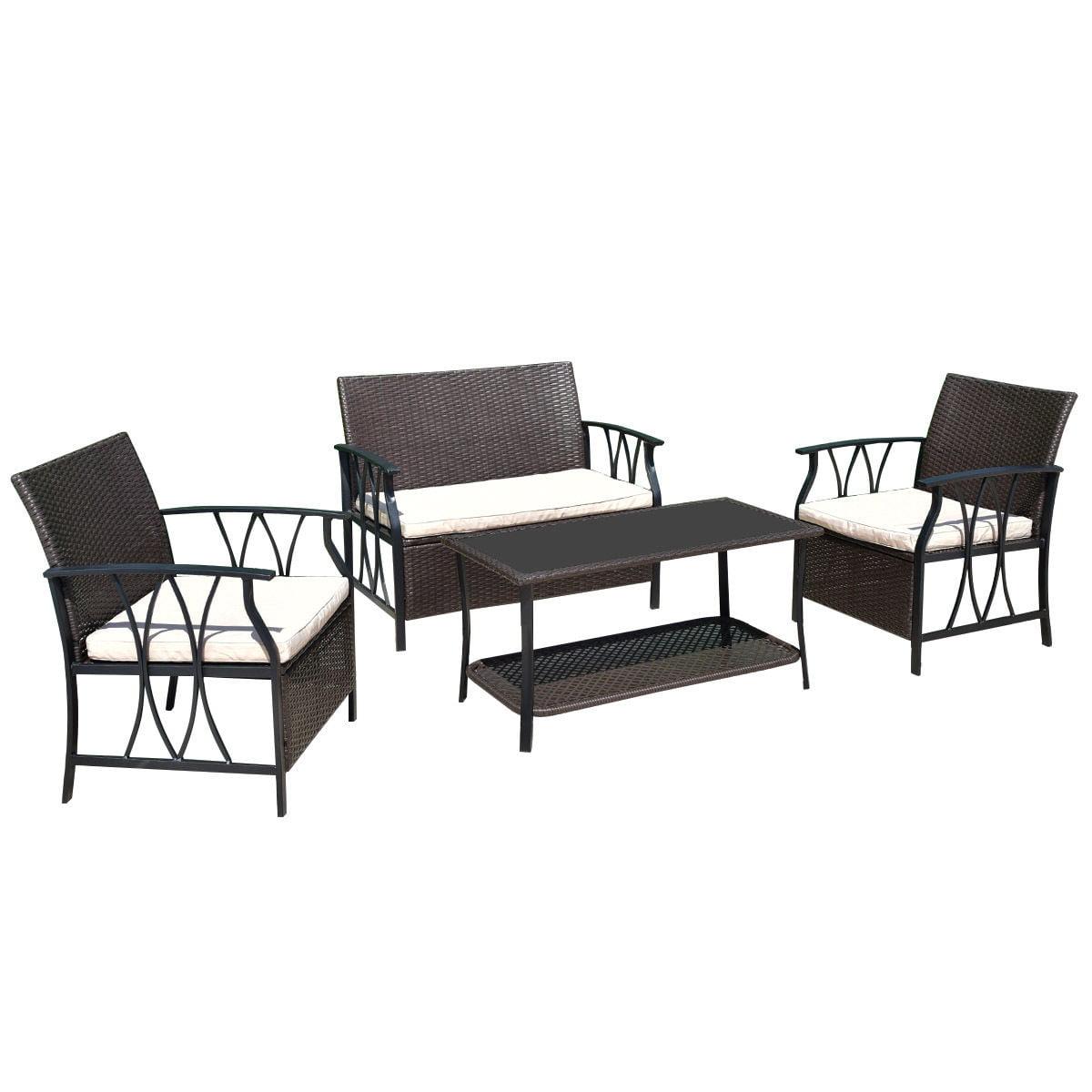 Gymax 4PC Rattan Wicker Furniture Set Cushion Outdoor Patio Garden Deck - image 5 de 5