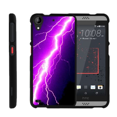 HTC Desire 530 | Desire 630, [SNAP SHELL][Matte Black] 2 Piece Snap On Rubberized Hard Plastic Cell Phone Case with Exclusive Art - Purple Lightning Bolt
