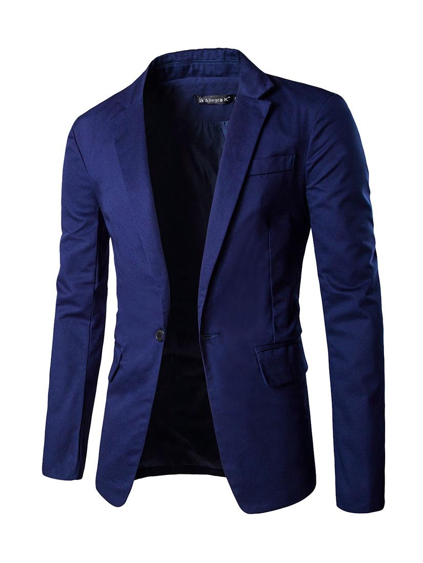 Allegra K Men's Classic Notch Lapel Suiting Blazer Blue (Size M / 38)