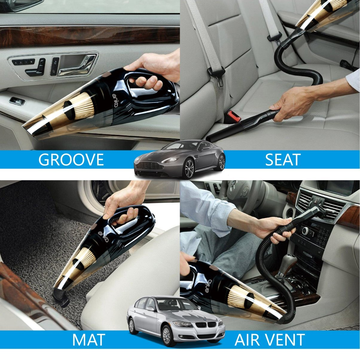 Upgraded Car Vacuum Cleaner Anko High Power Dc12 Volt Wet Dry