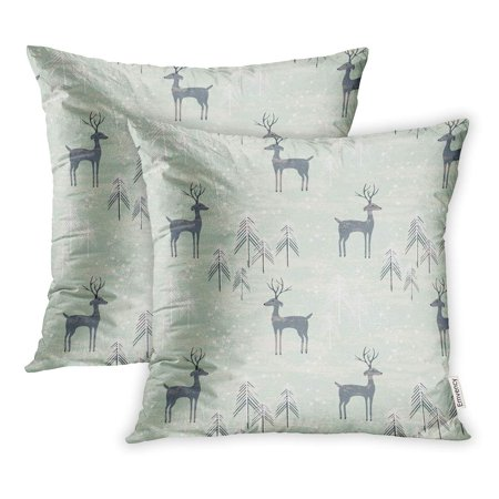 YWOTA Deer in Winter Pine Forest for Christmas Year Stationery Pillow Cases Cushion Cover 18x18 inch