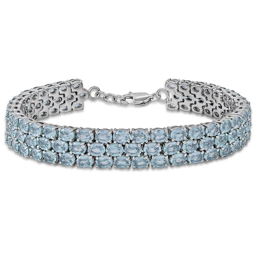Fine Sky Blue Topaz Tennis Bracelet in Sterling Silver by Luv Eclipse