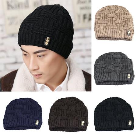 Directer - Directer Men s Fashion Winter Beanies Bonnet Knitted Hat Soft  Solid Braid Warm Cap - Walmart.com b947e1bd6ca