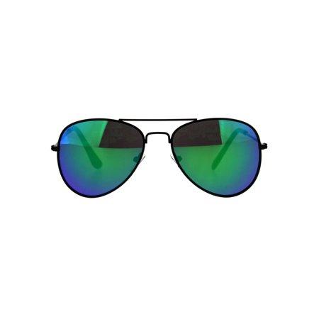 Kids Boys Color Mirror Lens Metal Rim Air Force Pilots Sunglasses Black - Boys Air Forces