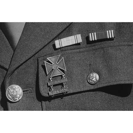 Service ribbons and qualification badge above pocket of military uniform worn by Corporal Jimmie Shohara  Ansel Easton Adams was an American photographer best known for his black-and-white