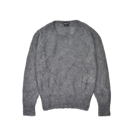 Tom Ford Mens Grey Mohair Silk Crewneck Cable Knit (Mohair Cable)