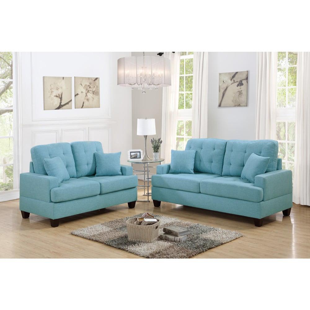 Polyfiber 2 Piece Sofa Set With Plush Cushion In Blue