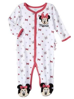 871e857bb63c Product Image Disney Infant Girls White Bows Minnie Mouse Cotton Pajama  Sleeper Sleep   Play