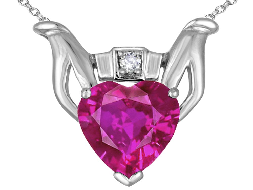 Star K Claddagh Love Pendant Necklace with 8mm Heart Simulated Pink Tourmaline in 10 kt White Gold by