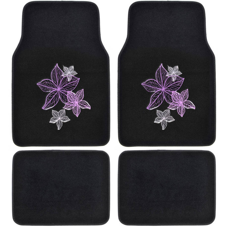 BDK Purple Pink Flowers Design Carpet Floor Mats for Car SUV, 4 Piece Set