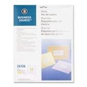 "Business Source Mailing Inkjet Label - 1"" Width X 2.62"" Length - 750 / Pack - Rectangle - Inkjet - White (BSN26126)"