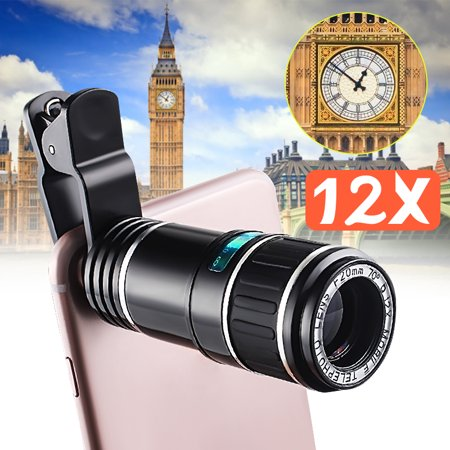 Chrismas Gift Outdoor Travel Universal 12X Zoom Optical Phone Telescope Camera Lens For Mobile Cellphone Smartphone Tablet