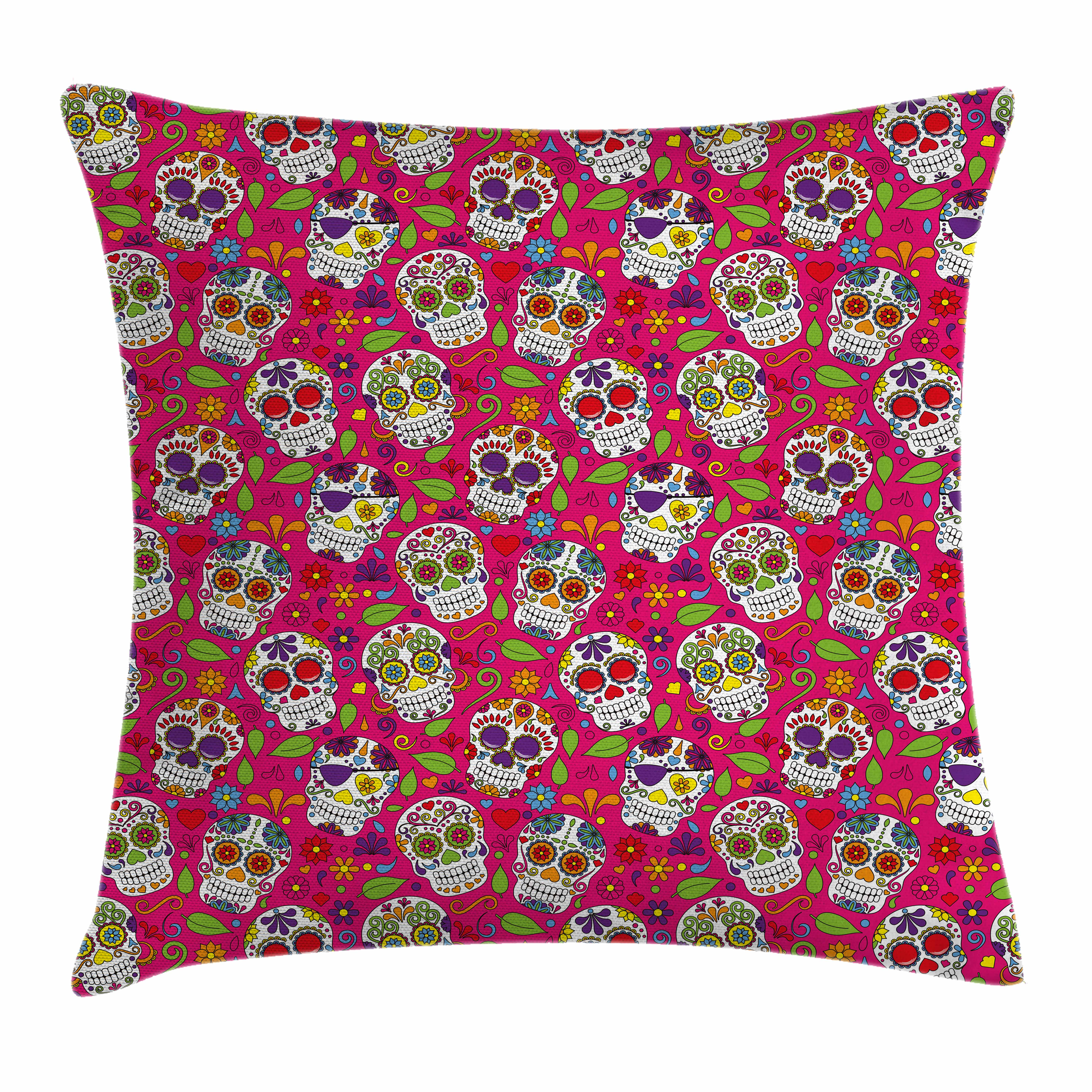 Sugar Skull Decor Throw Pillow Cushion Cover, Colorful Festive Skulls  Leaves Motifs Pirate Cemetery Graveyard