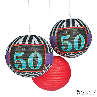 Celebrate 50th Birthday Hanging Paper Lanterns