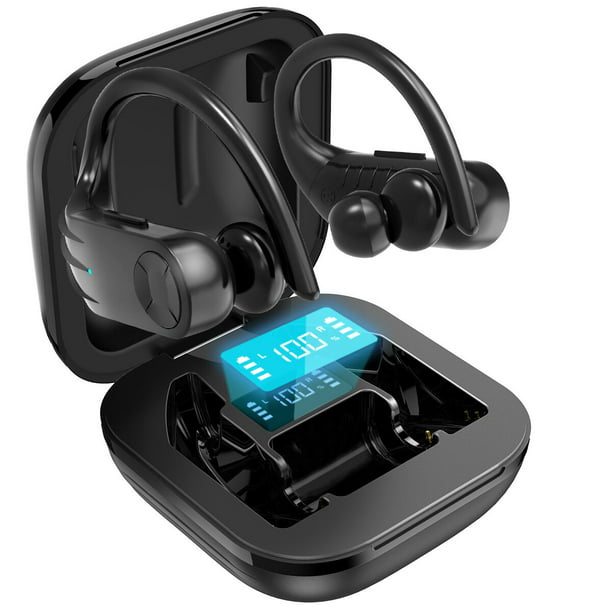 Wireless Earbuds Bluetooth Headphones 5 0 True Wireless Sport Earphones Built In Mic In Ear Running Headset With Earhooks Charging Case Compatible With Iphone 11 Pro Max Xs Xr Samsung Android Walmart Com