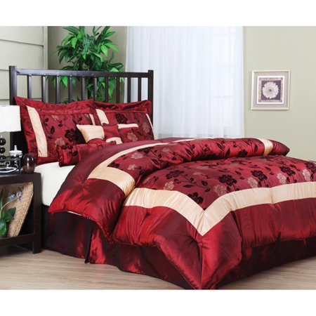 Angela 7-Piece Comforter Set, Burgundy