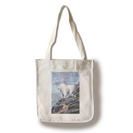 Waterton Glacier International Peace Park   Mountain Goat   Baby   Lantern Press Poster  100  Cotton Tote Bag   Reusable