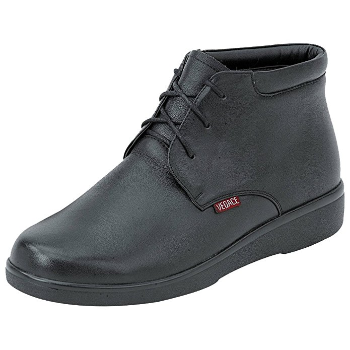 Vegace 9647 Womens Black Leather Comfort Slip Resistant Lace Up Work Boots