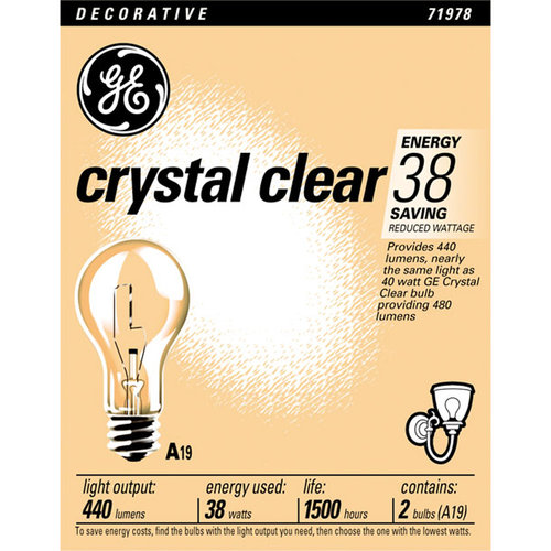 General Electric 38wt Clear Cal Only 2pk