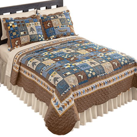 Woodlands Cabin Blue and Brown Patchwork Quilt, Bears, Moose, Pine Trees Décor, King, Blue Patchwork