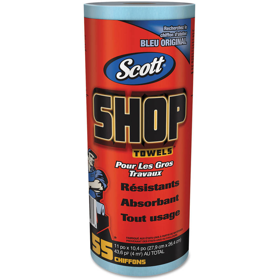 Scott Shop Towels, Roll, 10 2/5 x 11, Blue, 55/Roll, 12 Rolls/Carton