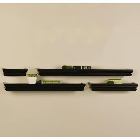Melannco Set of Four Black Wall Shelves, Hanging Hardware