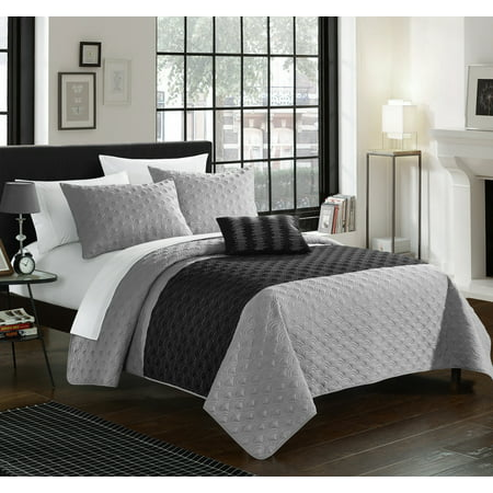 Chic Home 4-Piece Walker Geometric Quilting Embroidery Quilt Set, Shams and Decorative Pillows included ()
