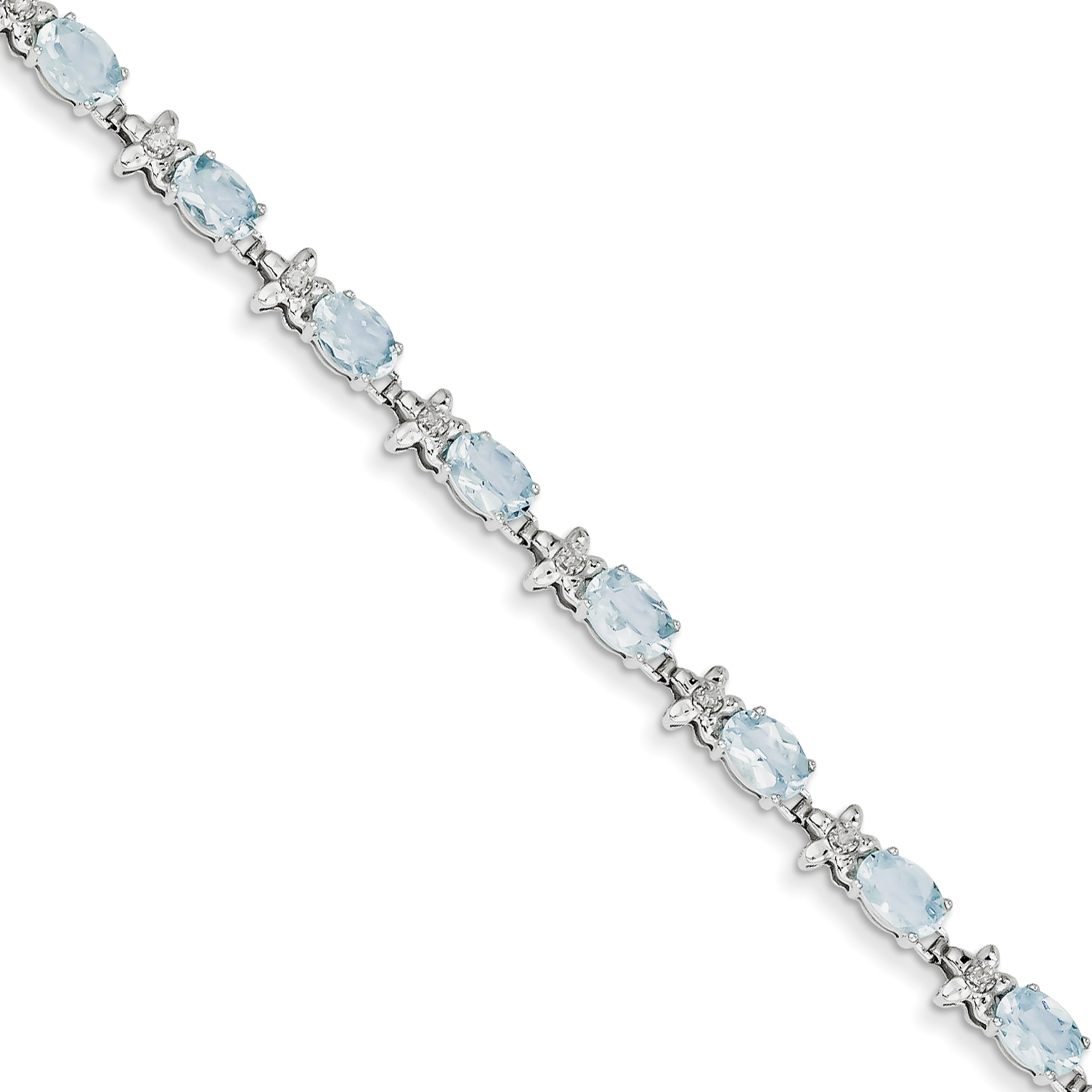 14k White Gold Fancy Floral Aquamarine Bracelet by Saris and Things QG