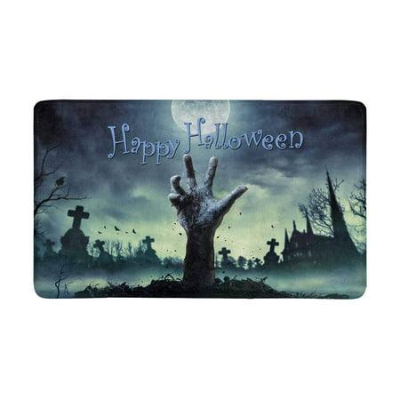 MKHERT Halloween Theme Zombie Hand Rising Out of a Grave Doormat Rug Home Decor Floor Mat Bath Mat 30x18 inch (Halloween Classroom Door Themes)