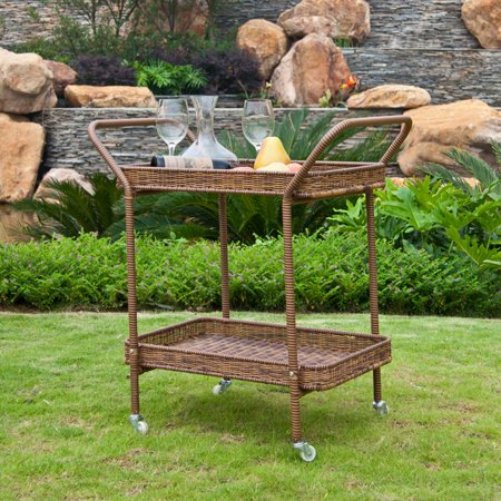Jeco Outdoor Wicker Patio Furniture Serving Cart - Jeco Outdoor Wicker Patio Furniture Serving Cart - Walmart.com