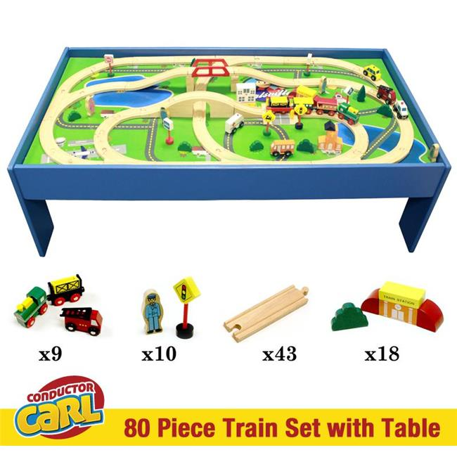 Conductor Carl Wooden Train TCON-202 Conductor Carl 80 Piece Wooden Train Set with Table