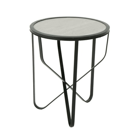 Outdoor 18 Inch Finish Ceramic Tile Side Table,Grey