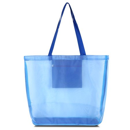 Waterproof Beach Mesh Picnic Hand Bag by Zodaca Shoulder Tote Carry Bag for Shopping Outdoor Activity - Solid Blue