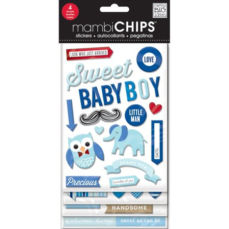 Fiskars Chipboard Stickers (me & my BIG ideas Mambi Chips Sweet Baby Boy Scrapbooking Supplies, Includes 4 sheets of chipboard stickers By Me My Big)