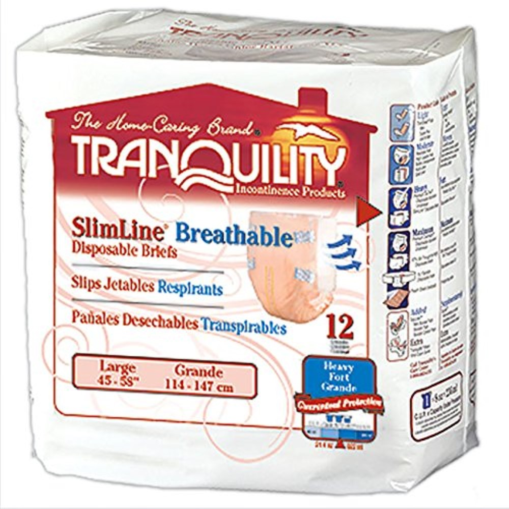 Tranquility SlimLine Breathable Briefs Large 45 to 58 Inch Waist / Hip - 12 ea