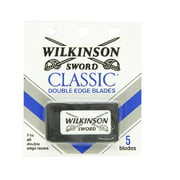 Wilkinson Sword Double Edge single Razor Cartridge, 5 blades + Facial Hair Remover Spring