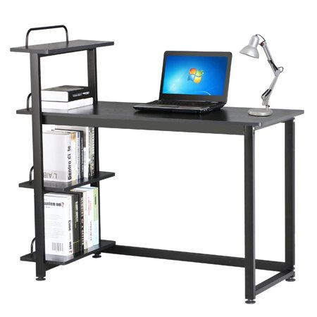 Yaheetech Computer Desk with 4 Bookshelves PC Laptop Workstation Home Office Study Table Black