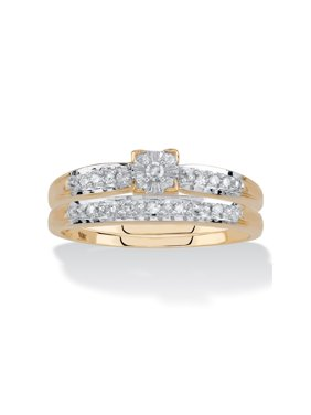 Diamond Engagement Wedding Ring 2-Piece Set 1/10 TCW in Solid 10k Yellow Gold