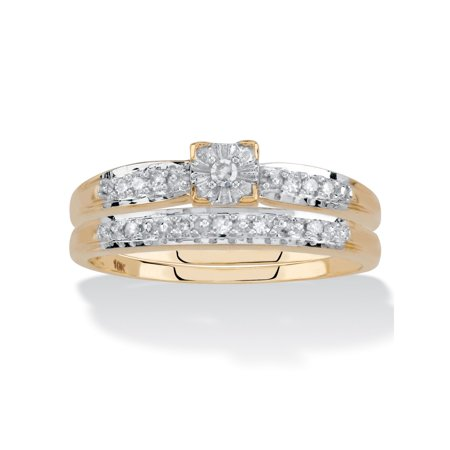 Diamond Engagement Wedding Ring 2-Piece Set in Solid 10k Yellow Gold 1/10 TCW