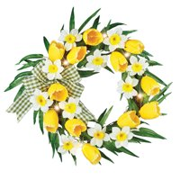 LED Lighted Yellow Tulips and White Daffodils Wreath - Pre Lit Artificial Flora for Spring Seasonal Home Decor - Easter, Indoor, Outdoor Use