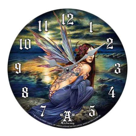 """Sylundine Elemental Water & Air Fairy Wall Clock By Alchemy Gothic Round Plate 13.5""""D"""