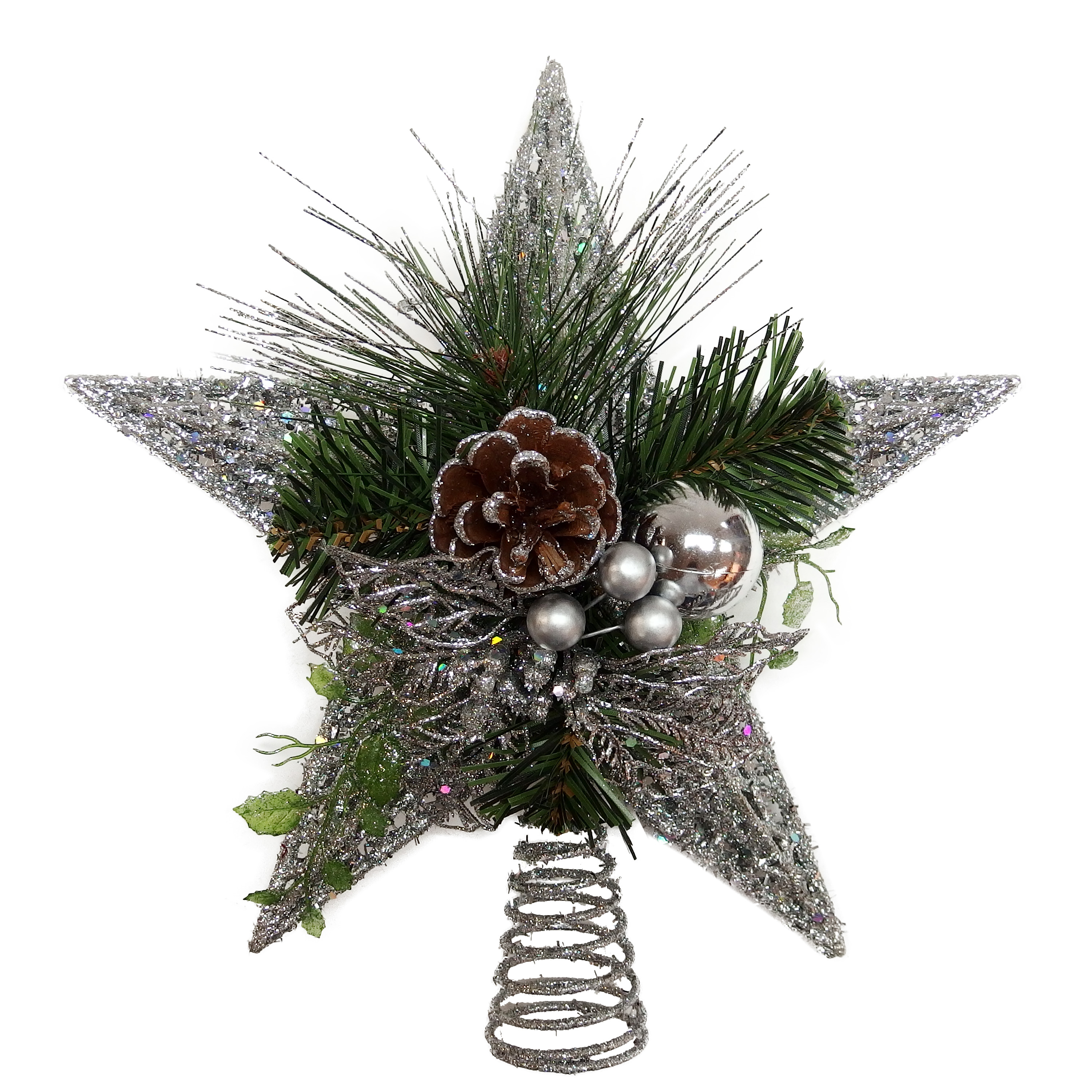 Holiday Time Christmas Silver Glitter Star Tree Topper with Poinsettia and Pinecone